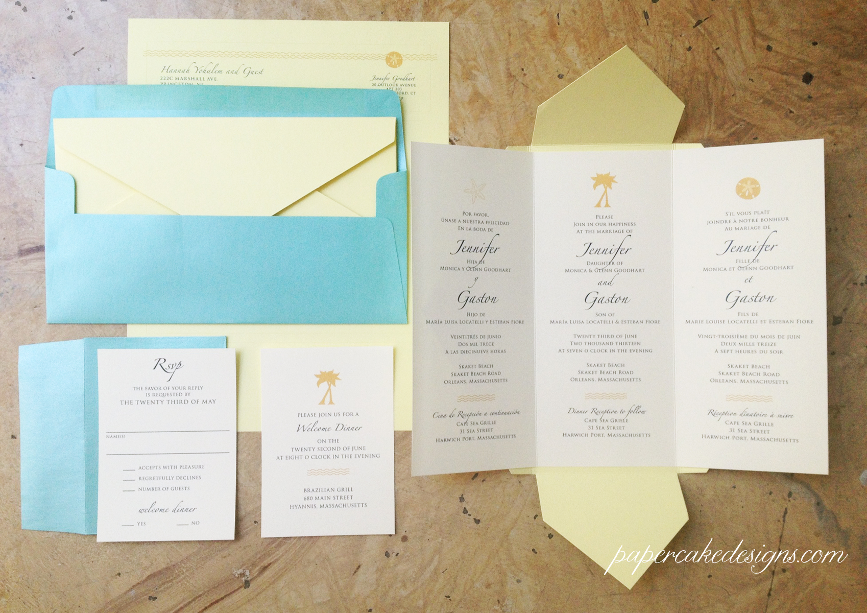 Custom Made Wedding Invitations: [custom Wedding Invitation] Trilingual Pochette