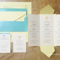 [custom wedding invitation] trilingual pochette Fold out invite