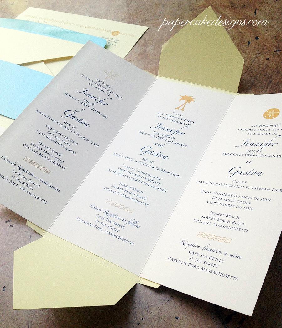 custom wedding invitation trilingual pochette Fold out invite