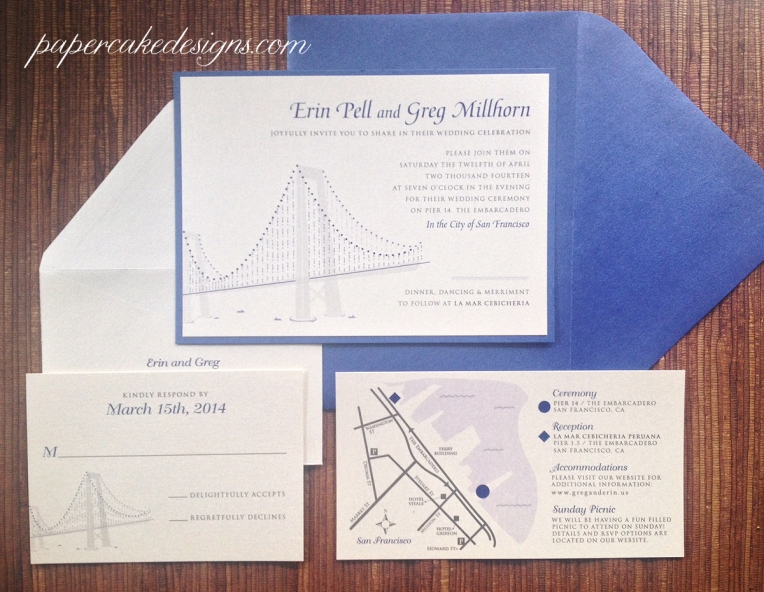 San Francisco Bay Bridge Lights Invitation [2-layer 5x7 horizontal with enclosure cards]