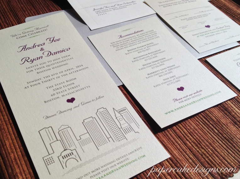 Boston City Skyline Wedding Invitation Suite [single-layer vertical, tall cards]
