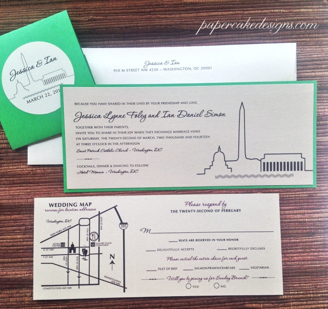 Washington DC SKyline Wedding Invitation Suite [2-layer horizontal invite with tear-off RSVP postcard & wedding map enclosure card]