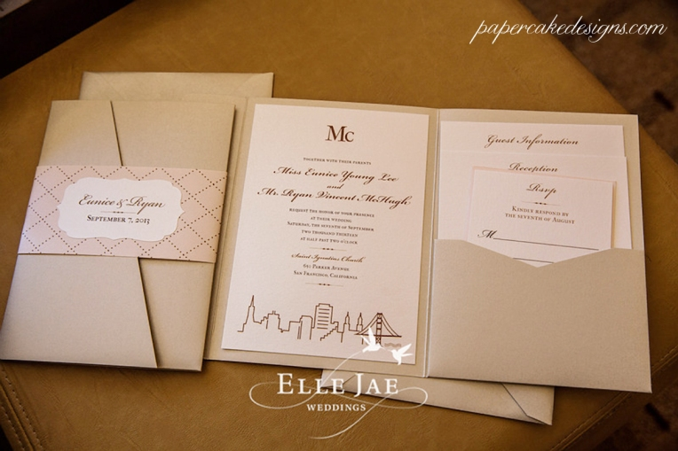 San Francisco Skyline Wedding Invitation Suite [booklet with pocket for enclosure cards & belly band]