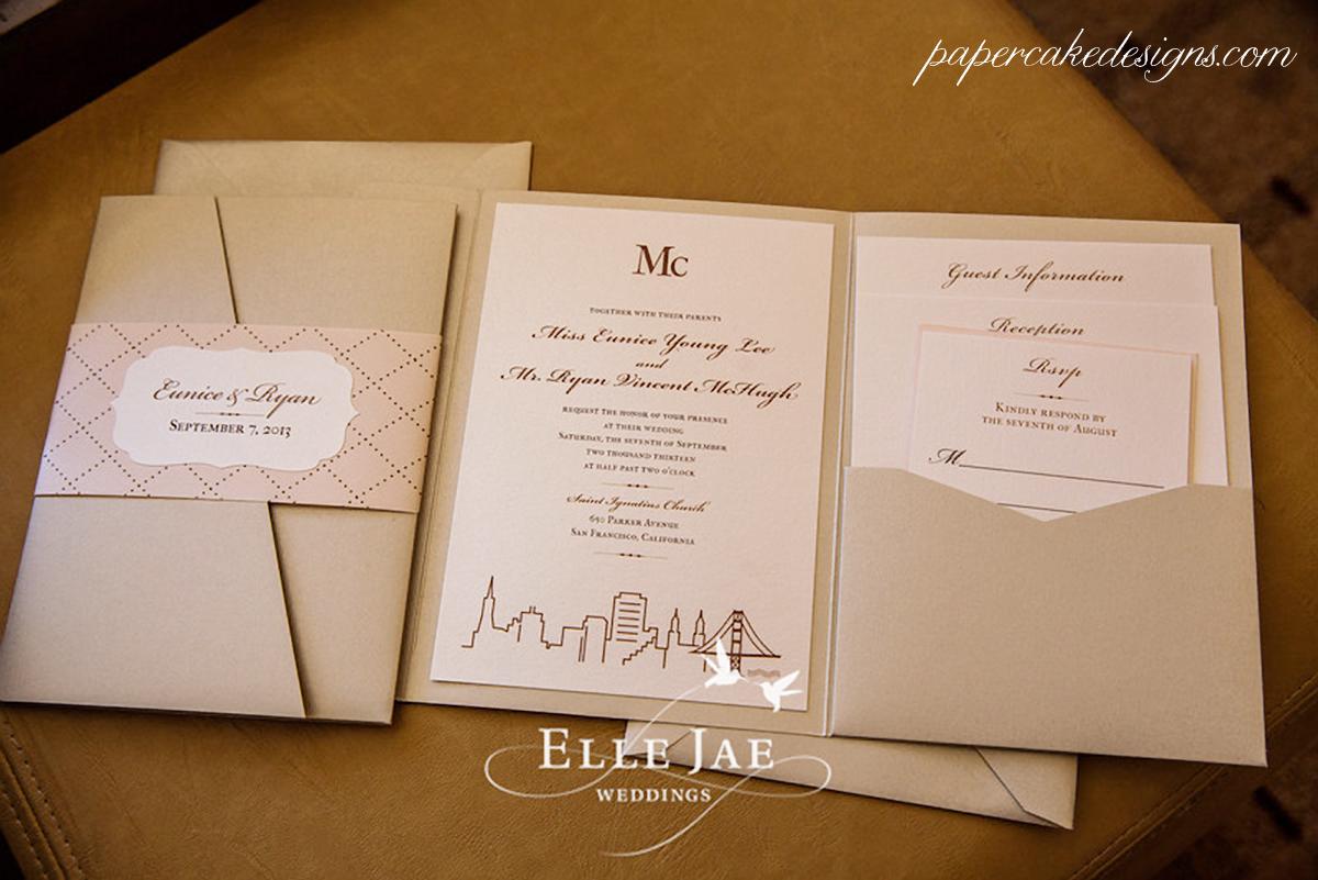 ... San Francisco Skyline Wedding Invitation Suite [booklet With Pocket For  Enclosure Cards U0026 Belly Band