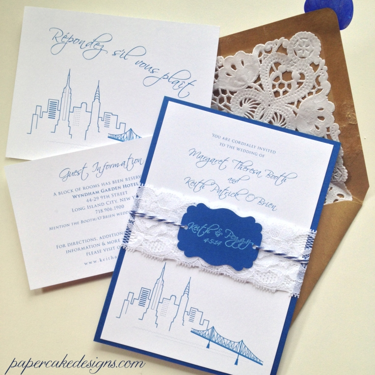 New York Queesboro Bridge Skyline Wedding Invitation Suite [digitally designed for DIY print & assembly]