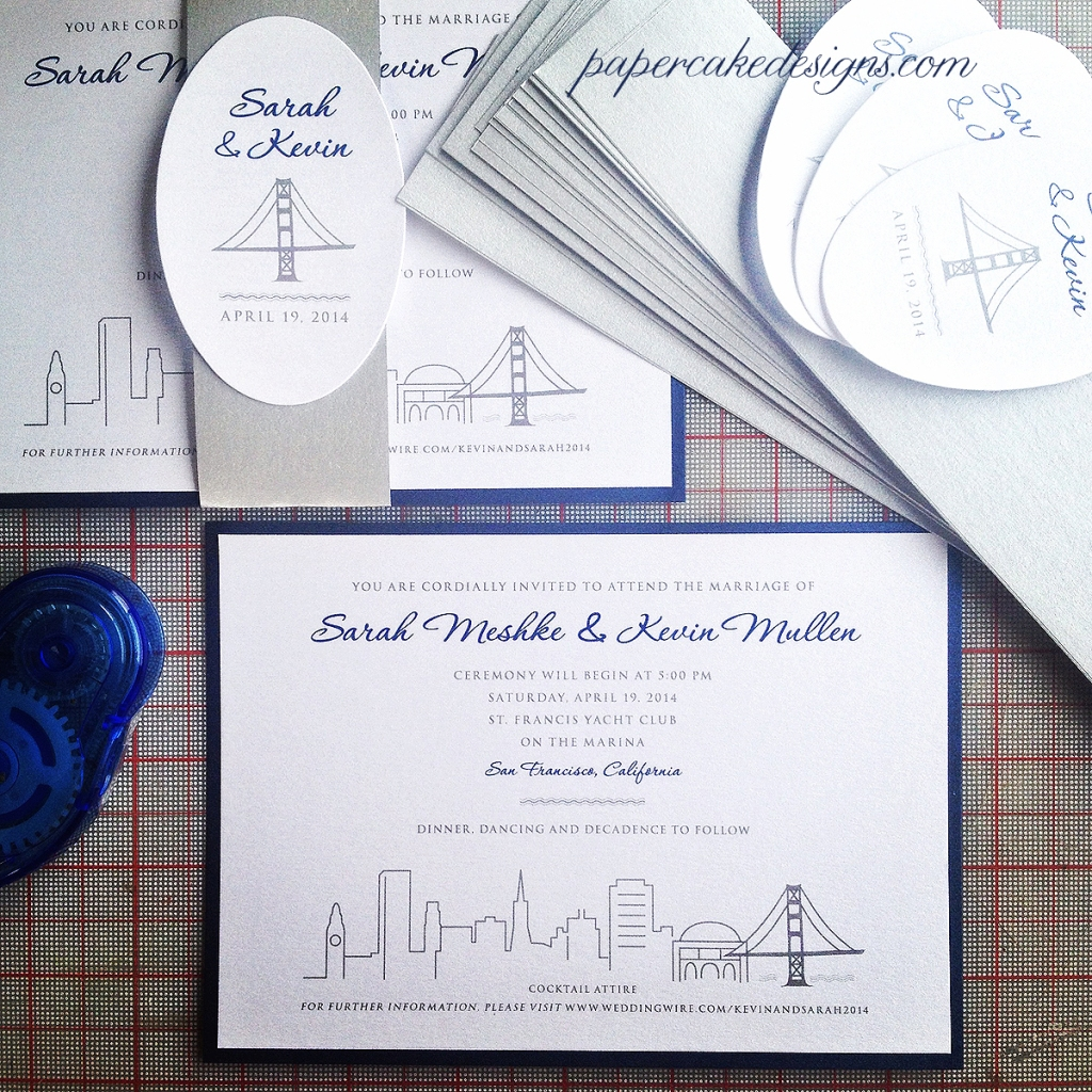 San Francisco Palace of fine Arts Skyline Invitation [2-layer 5x7 horizontal card with belly band & oval tag]