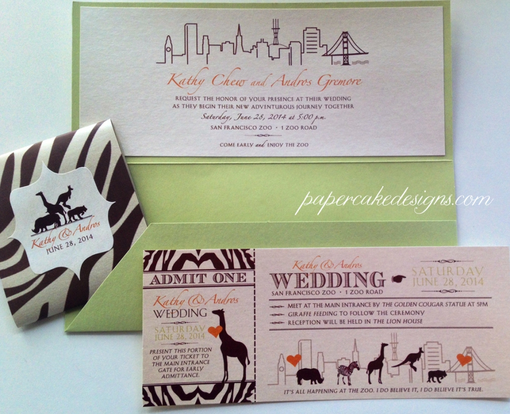 San Francisco Zoo Wedding Invitation Sutro Tower Skyline [single ticket folder with belly band & label]