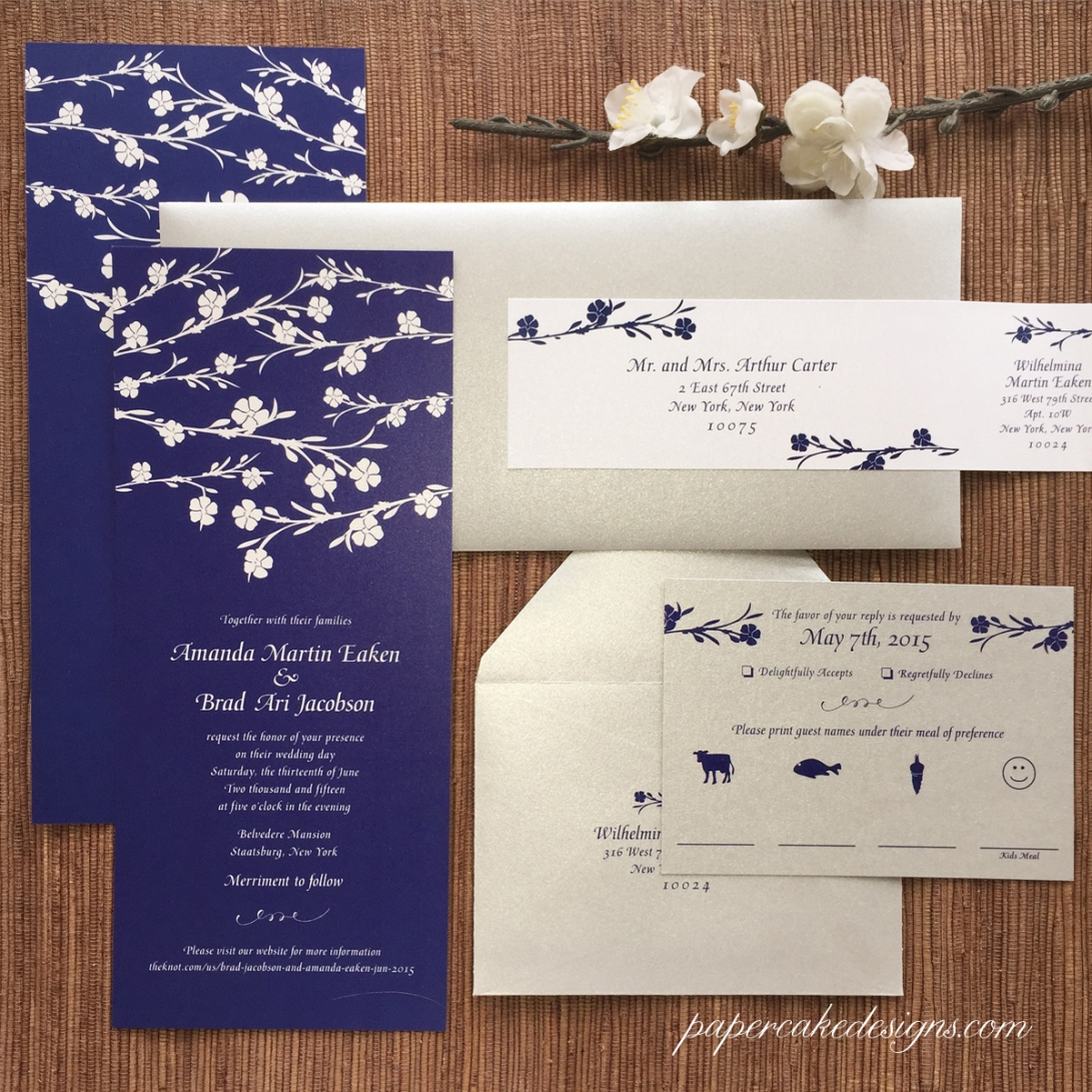 wedding invitations white flowers with dark background