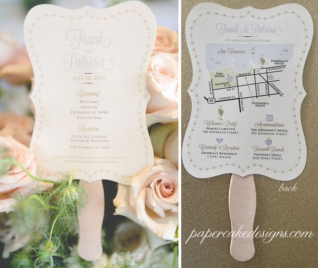 Wedding Program Fan + weekend events Custom Map