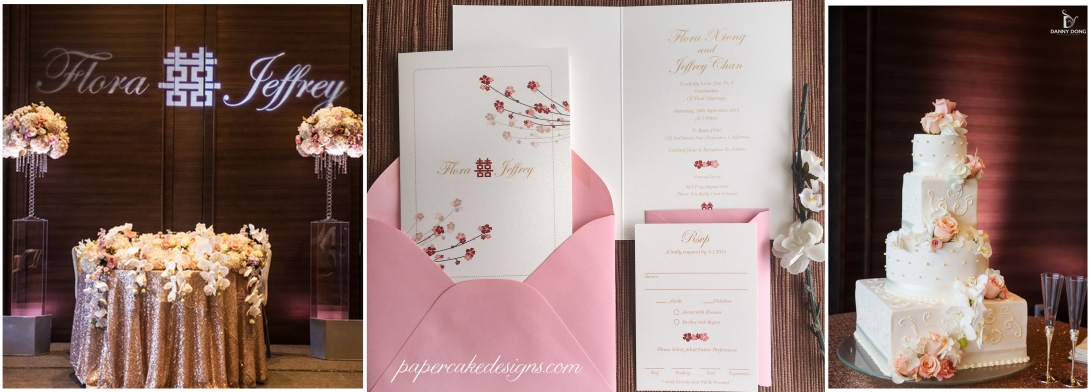 cherry blossom wedding invitation booklet