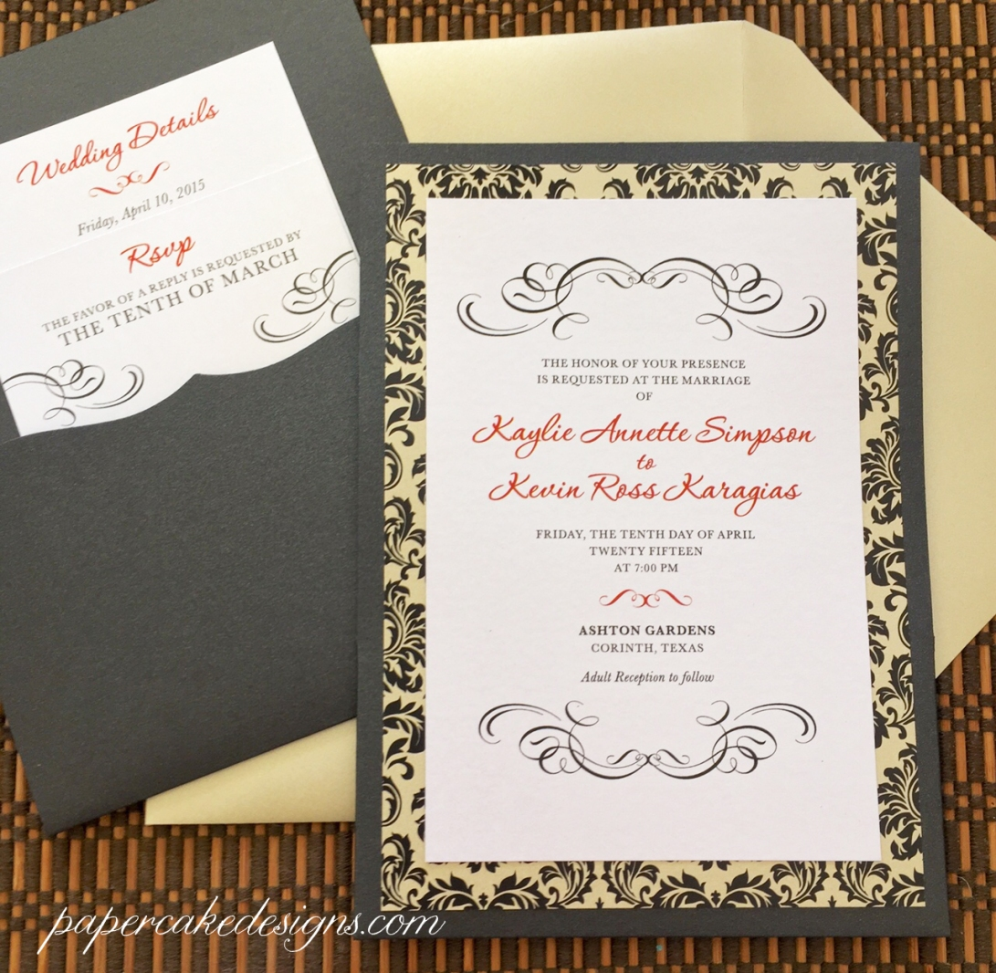 pocket on the back wedding invitations