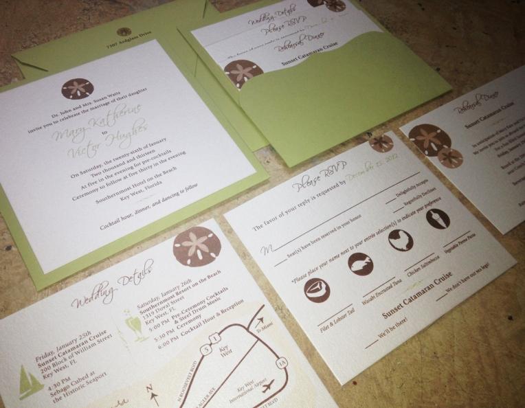 square wedding invitation pocket sanddollar