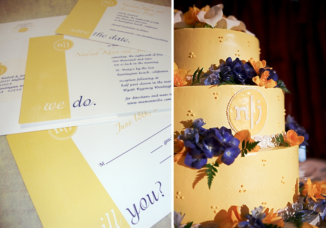 modern invite and cake with monogram