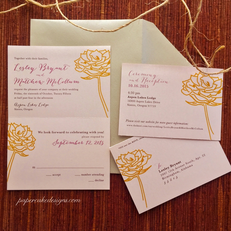 tear-off rsvp wedding invitation
