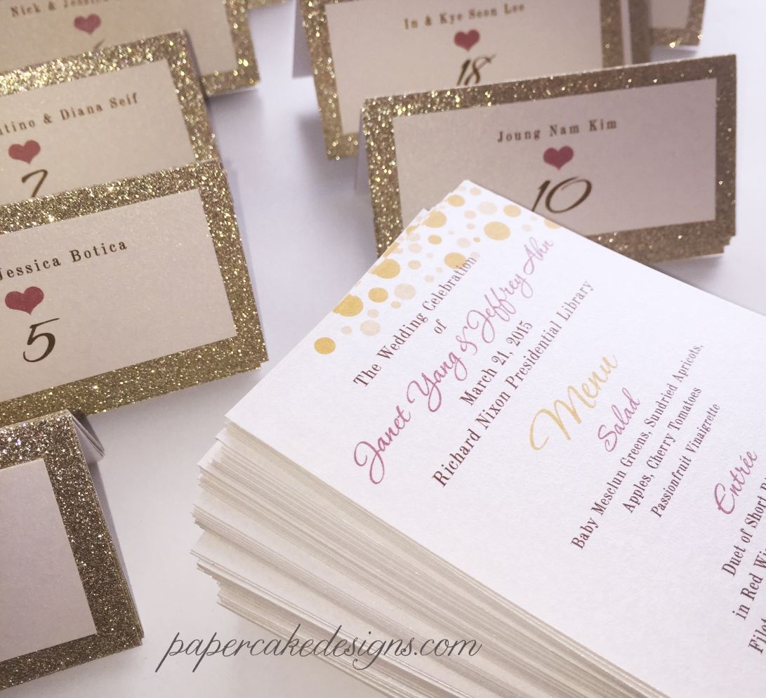 wedding menu gold glitter seating cards