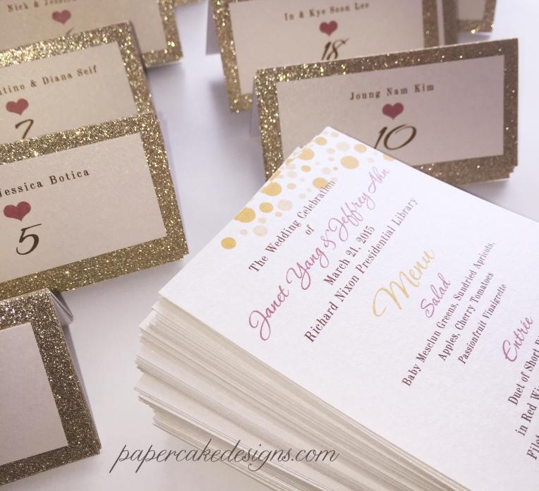 wedding menu gold glitter seating cards