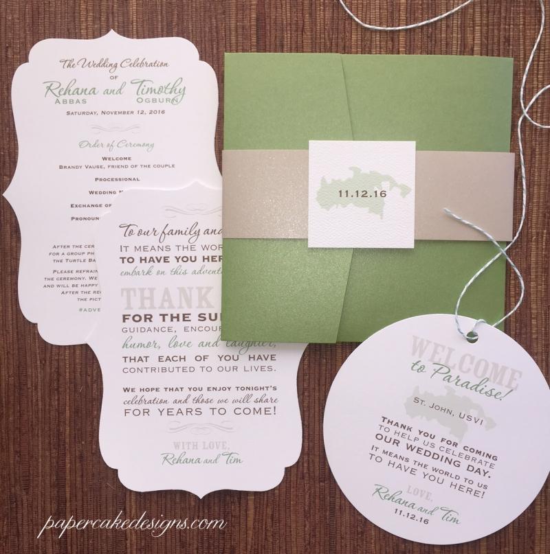 A die-cut bracket wedding program + round welcome bag tag designed to match the wedding invitation suite! [fairway & beige metallic + white matte]