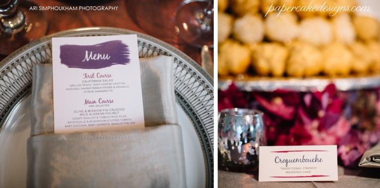 wedding reception stationery menu dessert