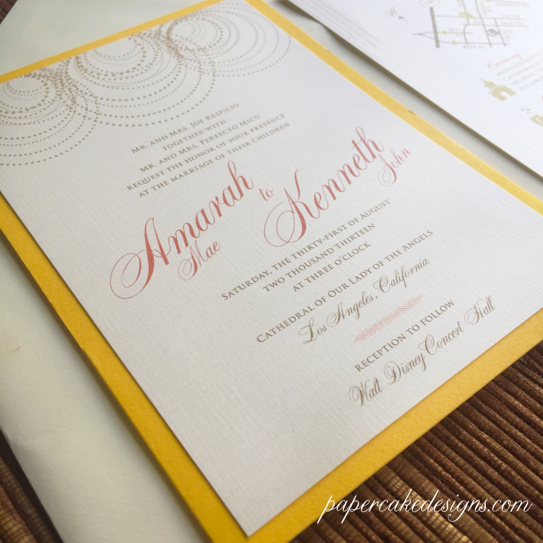 custom design pearls graphic wedding invite