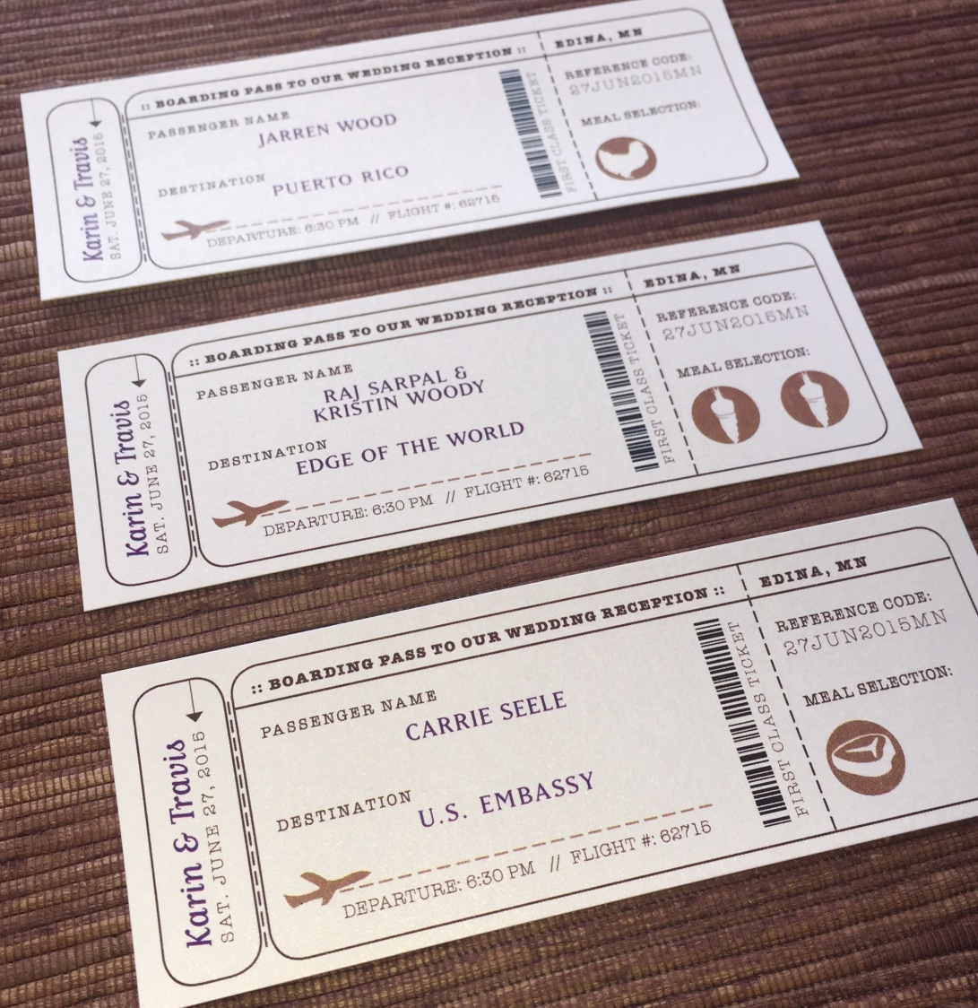 Wedding Reception Escort boarding pass tickets (meal optional)