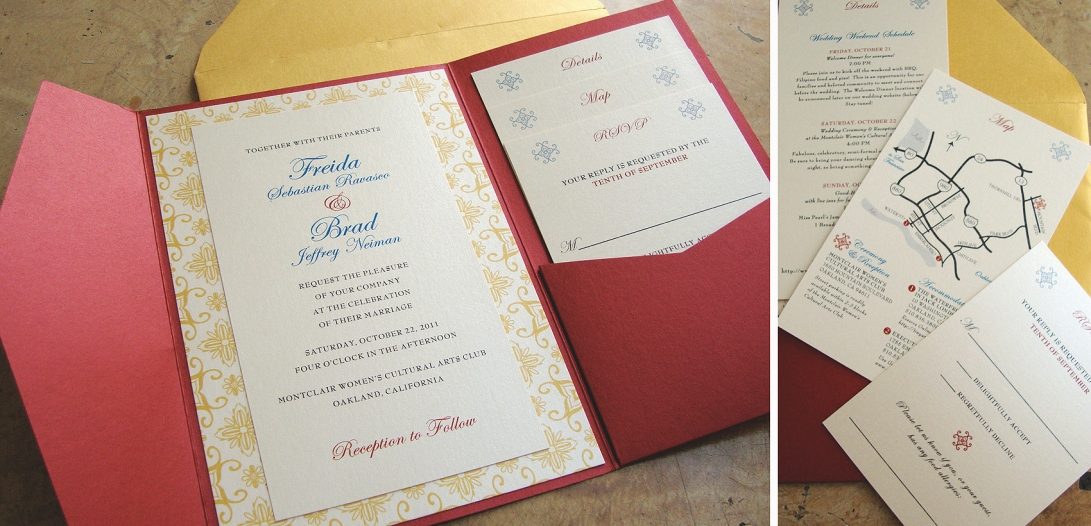 3-layer pocket folder invite with custom enclosures