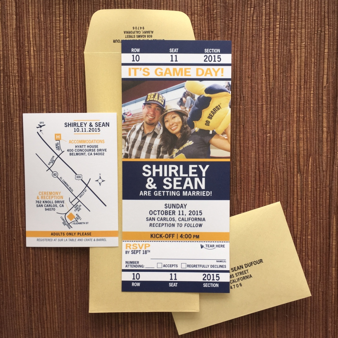 Large Sport ticket invite with photo & tear-off rsvp stub; response envelope & outer envelope