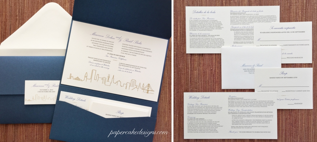 Bilingual pocket folder wedding invitation suite: custom eng/sp all-in-one card with san francisco skyline + front & back enclosure cards