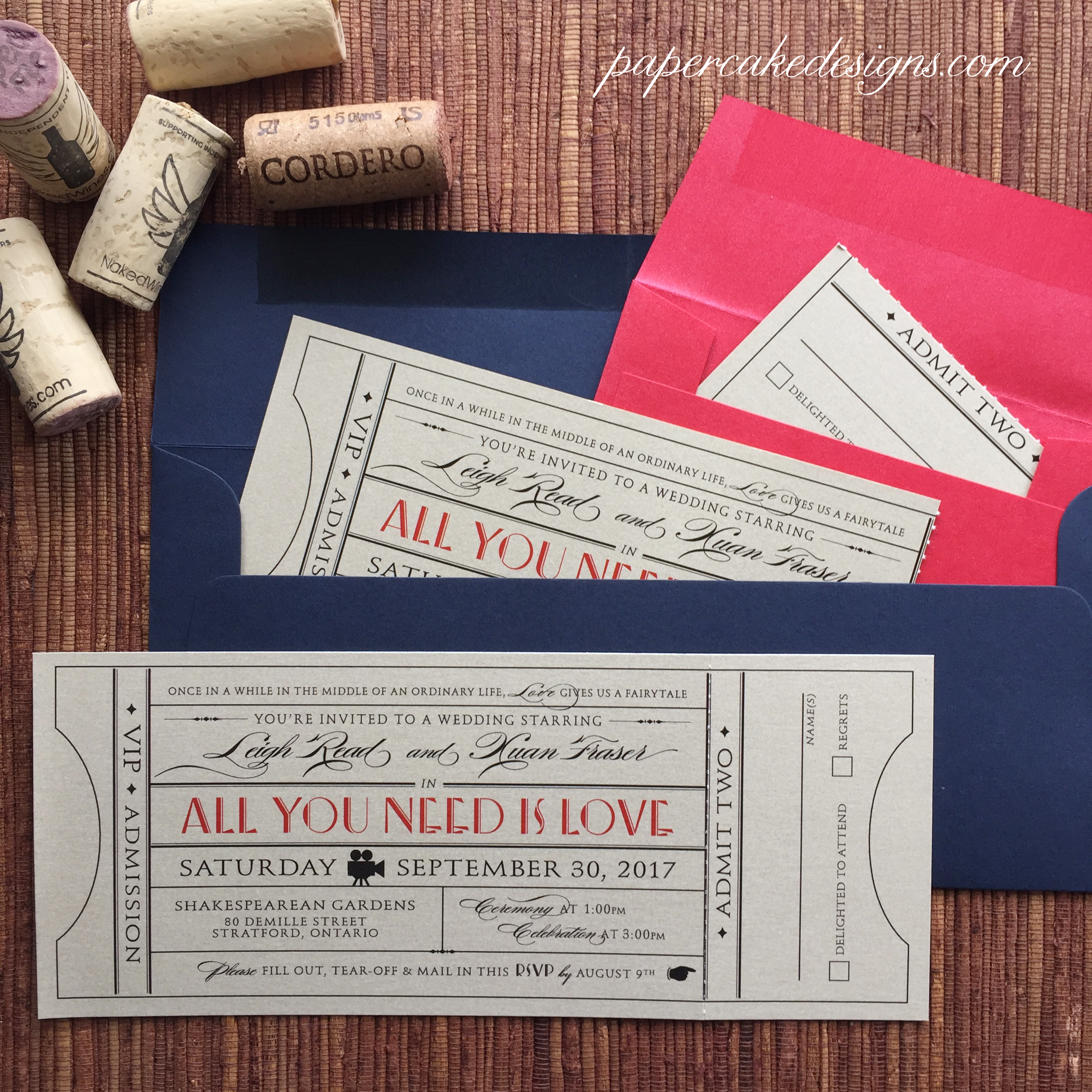 vintage wedding invites with rsvp stub