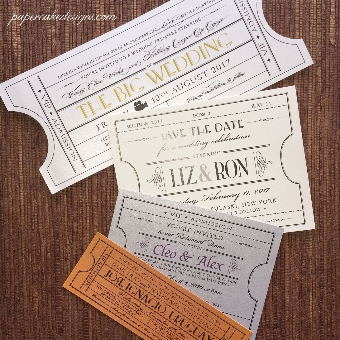 Custom Vintage Ticket invites & save the dates [available in these sizes and shapes]