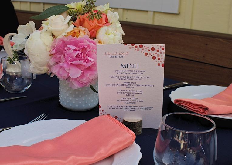 Wedding Reception stationery menu card