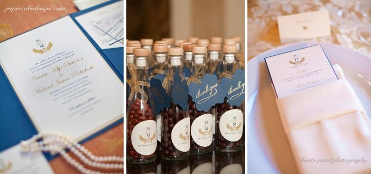 wedding monogram favor labels menu invite