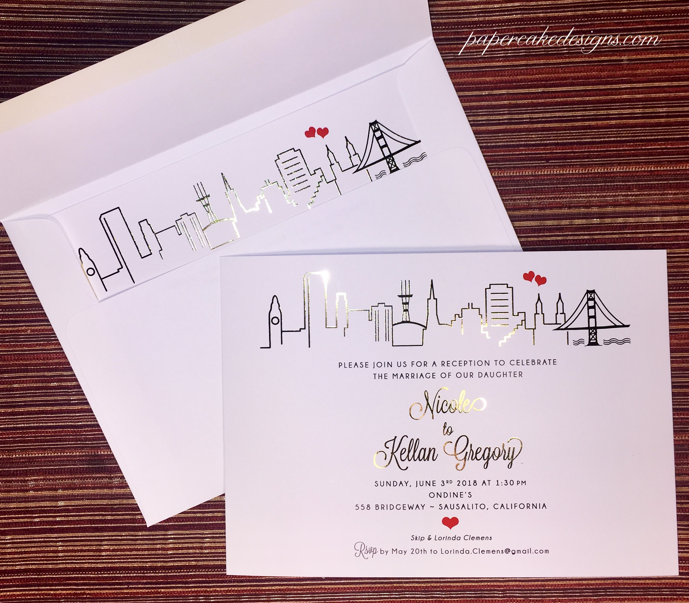 papercake designs a custom wedding invitation stationery graphic