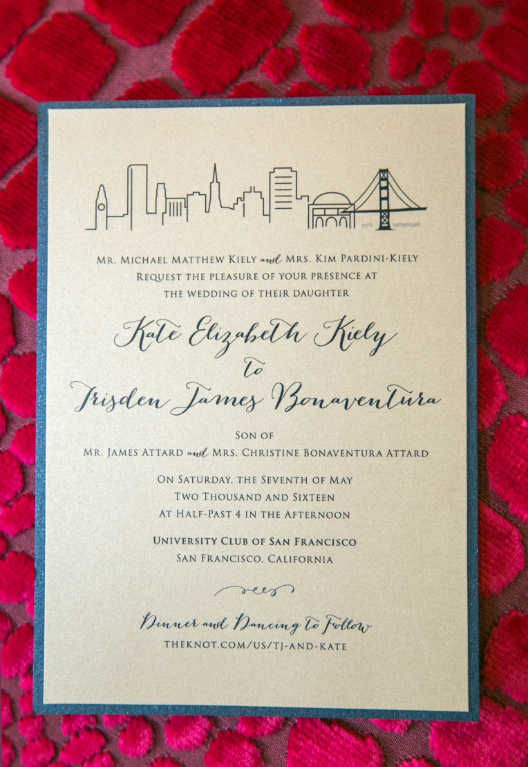 2-layer san francisco skyline invite card [beige + navy metallic]
