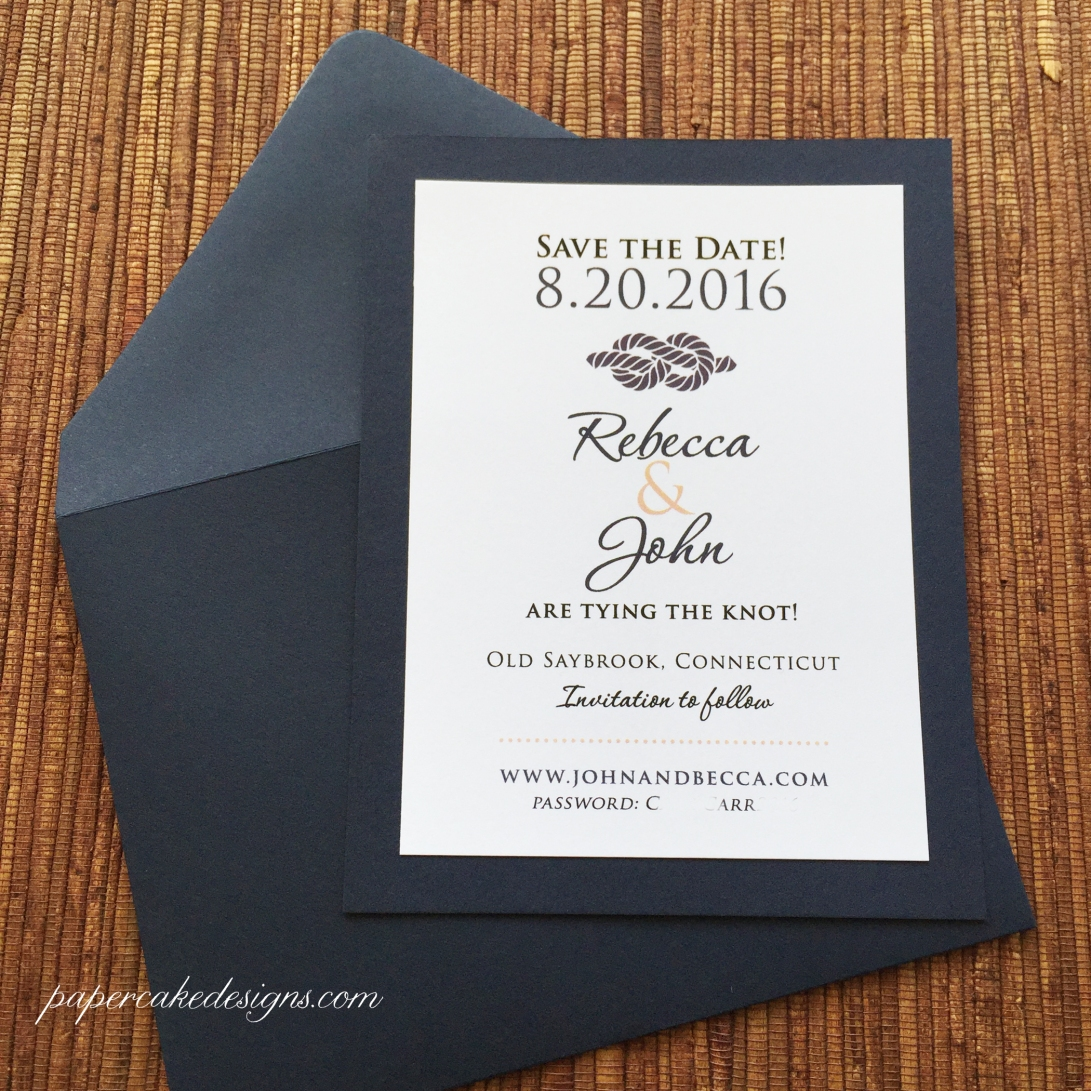 Custom Nautical Wedding ave the Date / 2-layer card with envelope