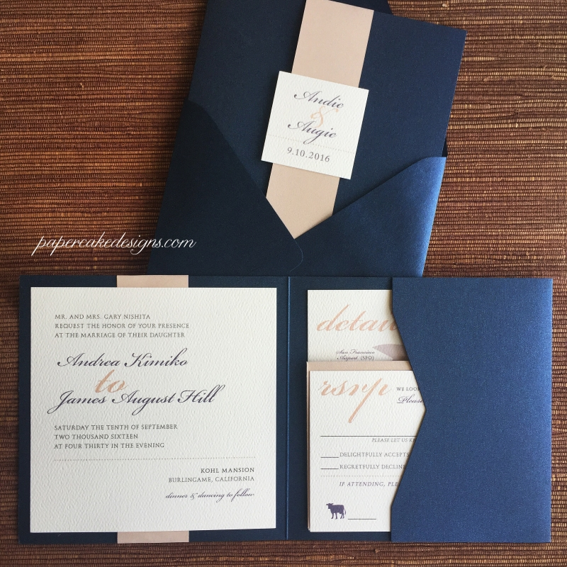 A 2-layer square pocket folder with name/date tag attached to wrapped paper band + Rsvp & details cards [navy + nude metallic + cream texture]