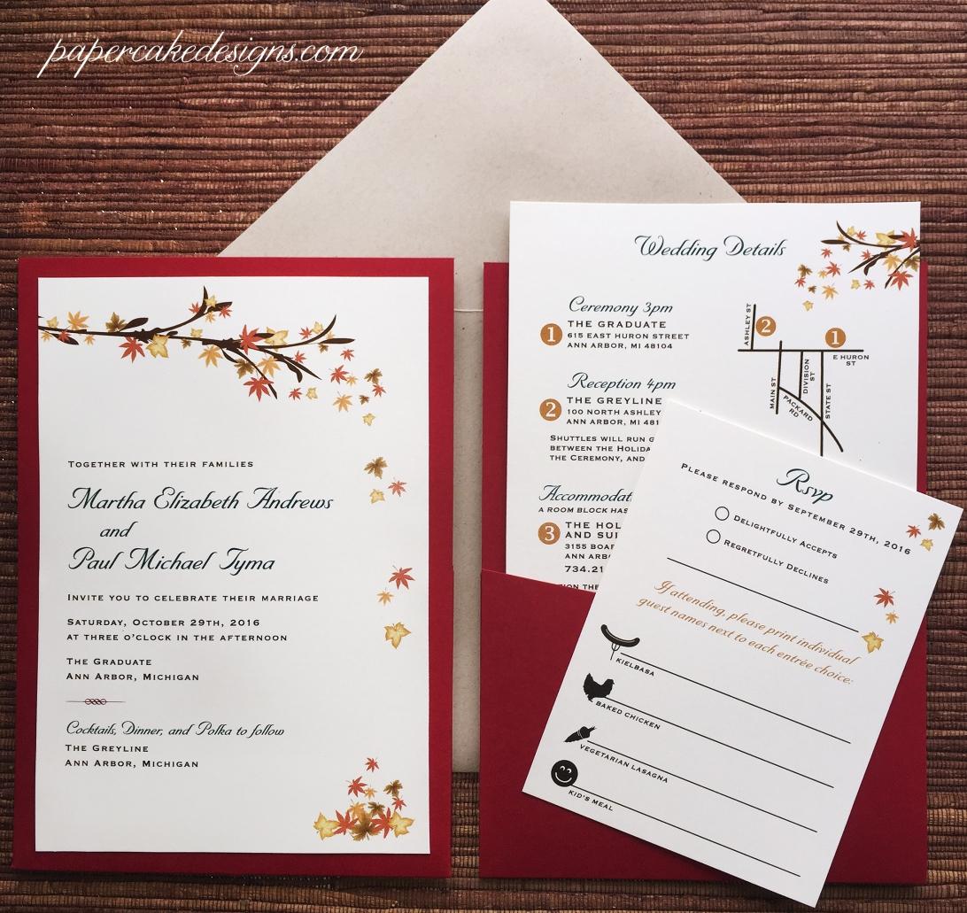 autumn wedding invites pocket