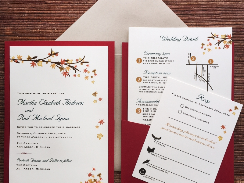 autumn wedding invites pocket