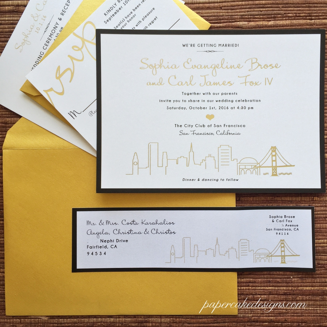 san francisco skyline gold foil printing