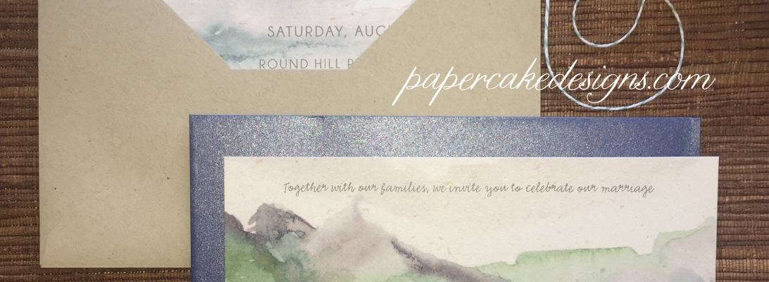 Watercolor painting invites mountains