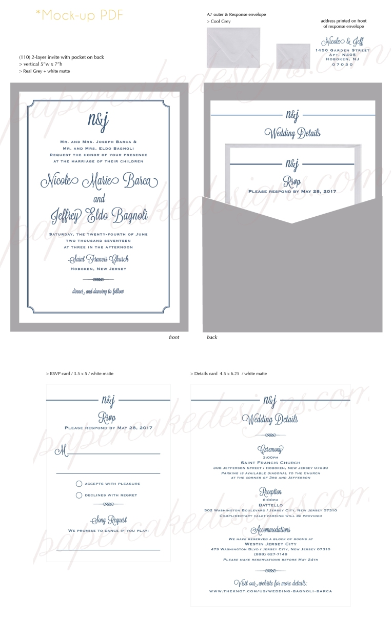 Wedding invitations papercake designs after the initial inquiry design inspiration emails and quote approval a mock up pdf is started via email i can also mail paper color swatches to choose stopboris Image collections