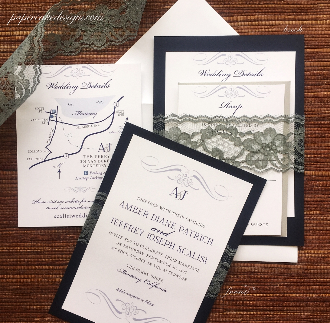 Lace Trim wedding invitations