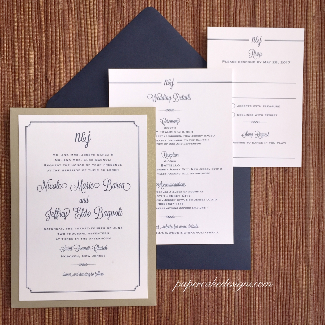 border wedding invites monogram