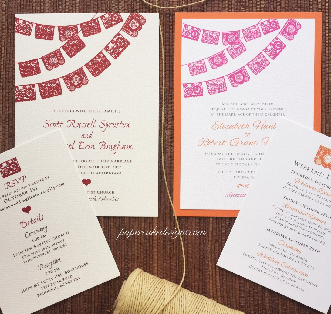 custom theme papel picado wedding invites