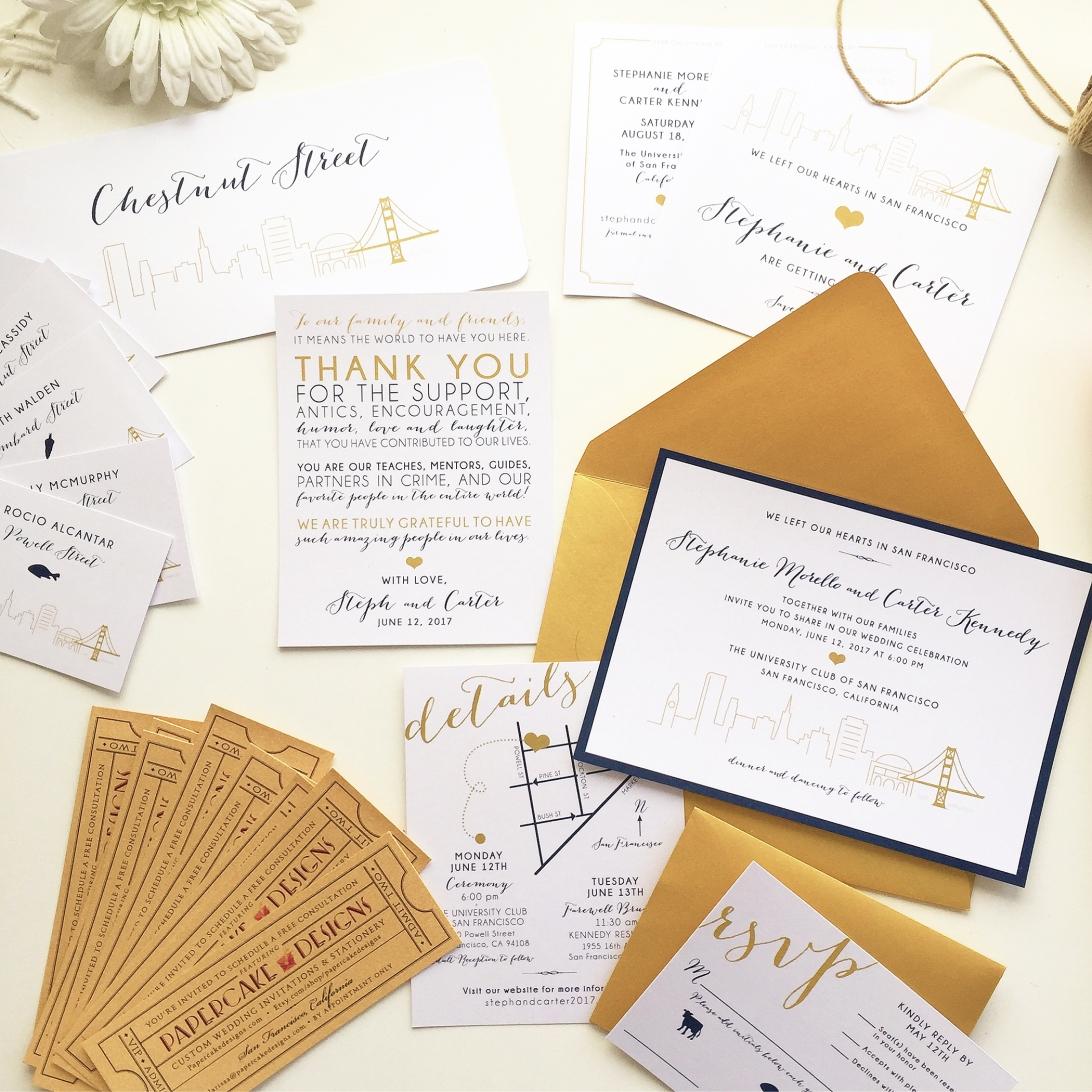 SF wedding invitation and reception cards