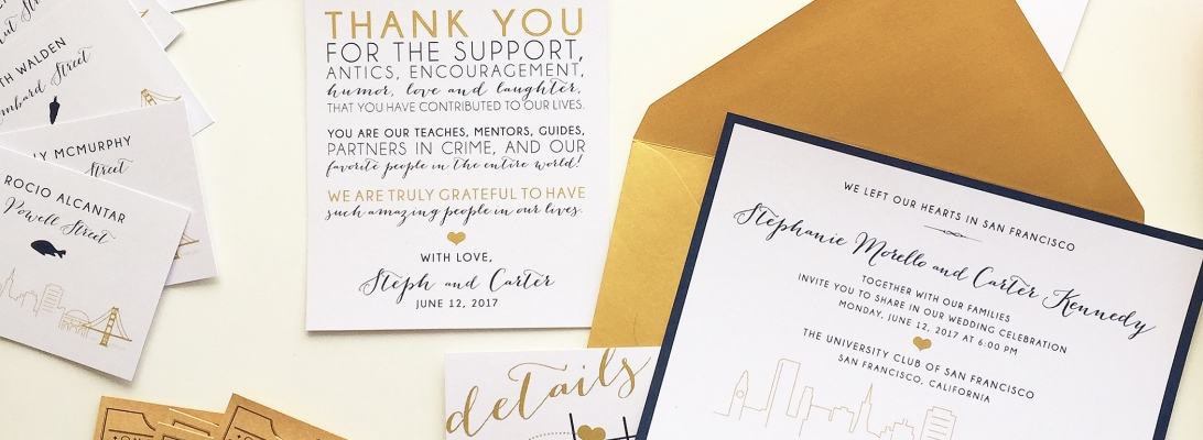 SF wedding invitation and reception cards