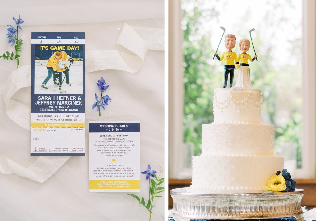 wedding invitation and cake styled to match